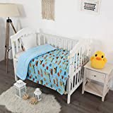 Elegant Home Kids Soft & Warm Sherpa Baby Toddler Boy Blanket Printed Borrego Stroller or Baby Crib or Toddler Bed Blanket Plush Throw 40X50 (Construction Equipment)