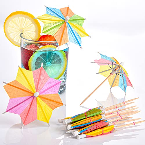 150 Pieces Umbrellas Cocktail Umbrella Drink Picks Octagonal Star-Shaped Paper Parasol Cupcake Toppers Handmade Cocktail Parasol Sticks for Pool Party Favors Supplies Decorations