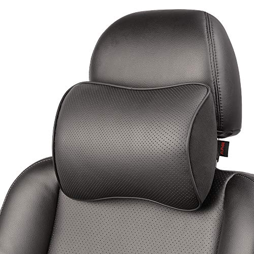 Aukee Memory Foam Car Neck Pillow Soft Leather Headrest for Driving Home Office Black (1PC)