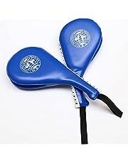 luniquz piel sintética Taekwondo mitón para boxeo doble acolchado Mano Impacto pratze Taekwondo Soporte técnicas Entrenamiento dispositivo de color rojo/azul/negro (1pcs o 1par), azul, 1 par