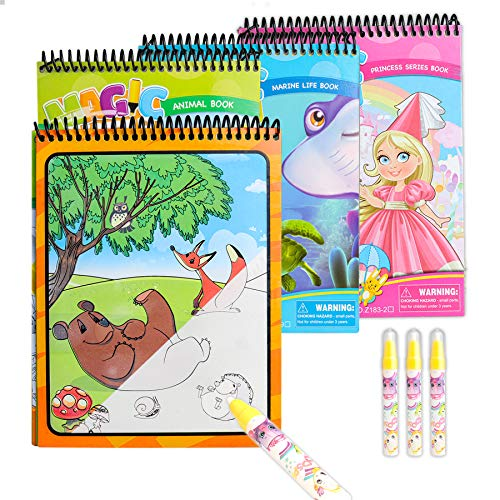 Sunarrive Wassermalbuch - Malen mit Wasser Buch - Zaubermalbuch Wasser Malbuch - Reisespiele Spielzeug Geschenk für Kleinkinder Kinder Junge Mädchen ab 2 3 4 5 Jahre (Prinzessin-Tiere-Unterwasser)
