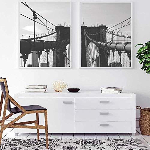 ARTPRIME Láminas para enmarcar Puente de Brooklyn. Set de Dos láminas en...