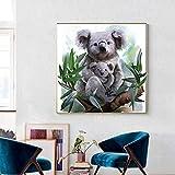 ganlanshu Pintura sin Marco Lindo Koala y Koala bebé Cartel Natural Lienzo Pintura Arte de la Pared decoración de jardín de infantesZGQ3996 70X70cm