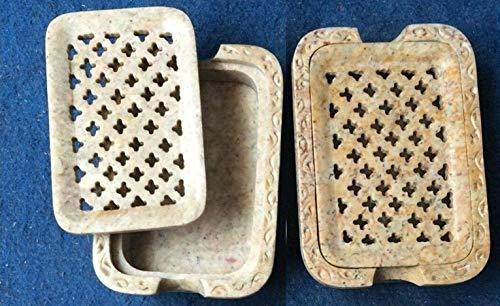 Gifts and Artefakte 2-teiliges Set Speckstein Seifenspender Halter mit Schnitzerei Einlage Arbeit Dekoratives Waschbecken Zubehör 8,9 x 11,4 cm