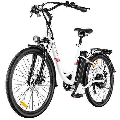 E Bike City Efahrrad Elektrofahrrad Ebike Herren 26 Zoll Elektrokreuzer/Elektrofahrrad mit Abnehmbarer 8Ah LithiumIonen Batterie, Shimano 7-Gang (26 Zoll Weiß 2)