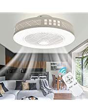Led-plafondventilator met verlichting, moderne onzichtbare ventilator, plafondlamp, ultrastil, met afstandsbediening, eetkamer, slaapkamer, woonkamer, led, dimbaar, diameter 50 cm