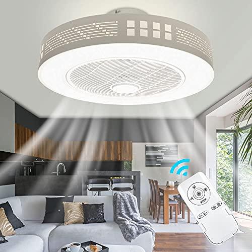 LED Deckenventilatoren Mit Beleuchtung Moderne Invisible Fan Deckenleuchten Ultra-Leise Deckenventilator Mit Fernbedienung Esszimmer Schlafzimmer Wohnzimmer LED Dimmbar Fan Deckenleuchte Ø50CM