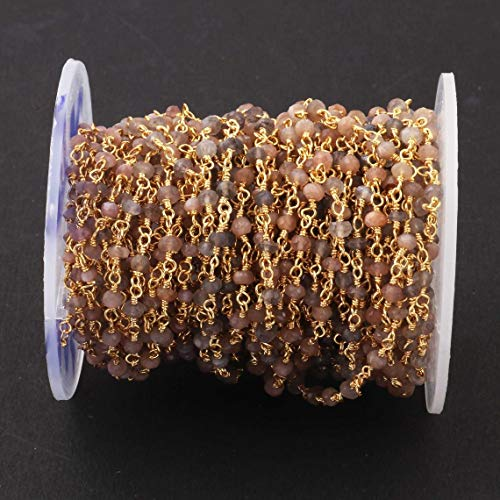 Shree_Narayani Cadena de rosario de perlas de piedra lunar de chocolate de 35 pies de alambre facetado envuelto en oro chapado estilo rosarios cadena de cuentas colgante racimo angoori Strand