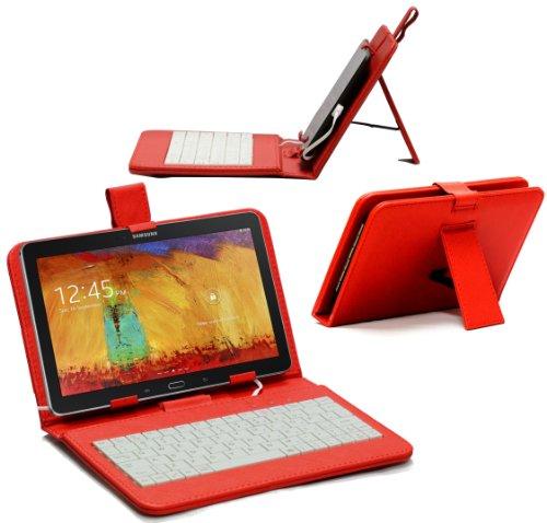 Navitech 10 Zoll Rotes bycast Leder Case/Cover mit deutschem Qwertz Keyboard mit Micro USB für das Treckstor SurfTab Wintron Tablet 10.1