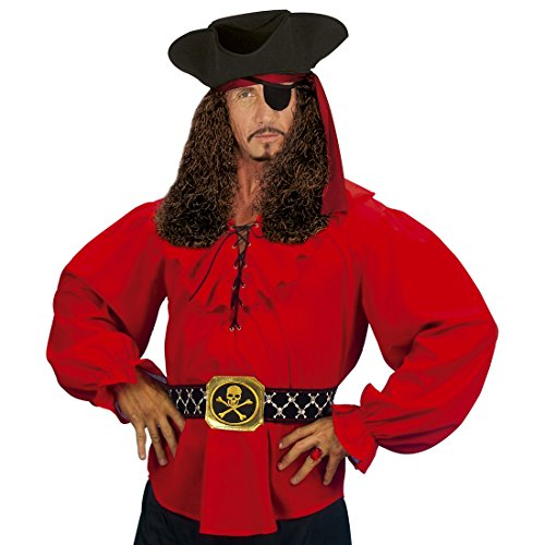 Camiseta Disfraz Pirata Hombre Camisa Pirata roja XL 54 Vestimenta de Marinero Disfraz Pirata Hombre Parte de Arriba Medieval Ropa bucanero