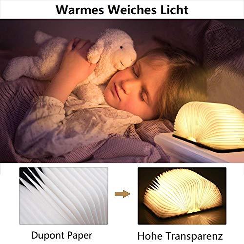 Hölzerne faltbare Buch-Lampe,LED-Licht mit Akku - 4