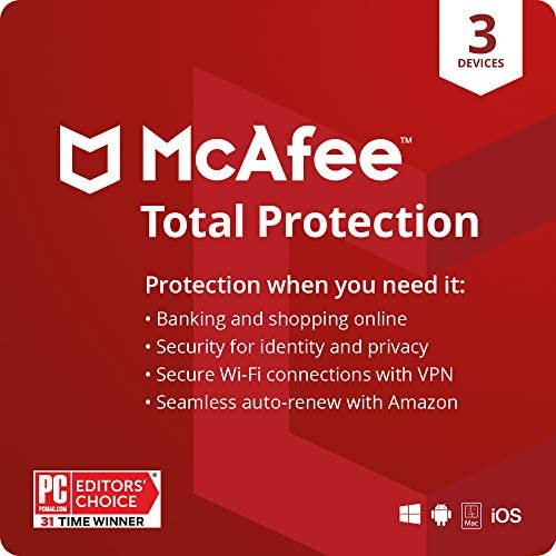 McAfee Total Protection 2021 3 Device Antivirus Internet Security Software VPN Password Manager product image