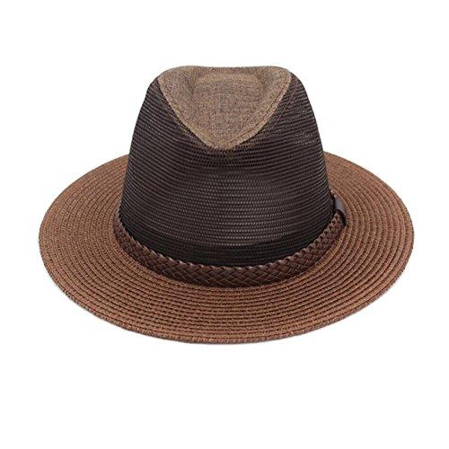 NYDZDM Sombrero de verano para hombre Big Eaves de malla transpirable Cool Hat Leisure Jazz Cap (color : F, tamaño: L (59-60cm)