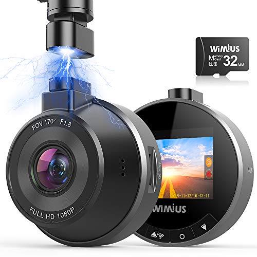 Caméra Voiture Embarquée WiFi, WiMiUS FHD 1080P DashCam Voiture 170° Grand Angle Enregistreur de...