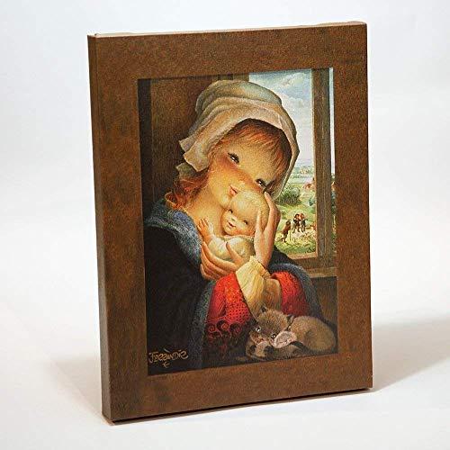 Virgen ventana 30x40cm. Ilustración de Juan Ferrándiz impresa en lienzo. Serie limitada y numerada. Regalo Comunión y Bautizo