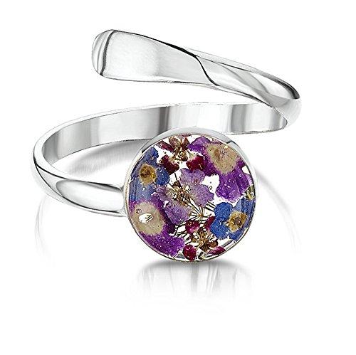Silberschmuck mit echten Blumen: verstellbarer Ring - Vergissmeinnicht - rund - in Geschenkbox (blau / lila)