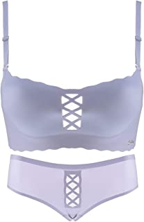 Care Underwear Set Sexy Hollow Gathered no Trace Comfortable Bra, no Steel Ring, Adjust The Chest Shape, Four Rows of Thre...