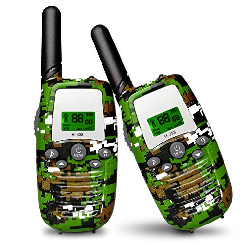 Aiskki 2X Walkie Talkie Kinder Funkgerät Set mit LED-Taschenlampe Walki Talki 16 Kanäle 1-3KM Reichweite LC-Display 2-Wege Radio Geschenke Spielzeug, Camouflage