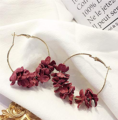 ESCYQ PendientesDeMujerPendienteClavosPendientesGotaLíneaDeOído La Moda Vino Pétalo Rojo Combinación Geométrica del Círculo Grande Hoop Earrings Mujeres Joyas