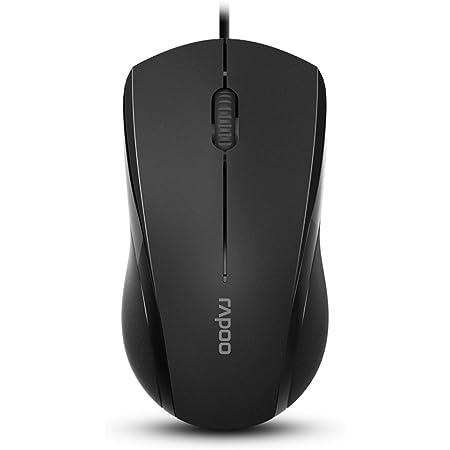 Rapoo N1600 3-Button Quiet Wired Mouse, 1000DPI Optical Mouse, Quiet Button, Ergonomic Shape, for Desktop Computers Laptops, Matte Black