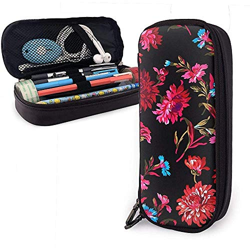 Anne Marie Black Pen Case Big Capacity Pencil Bag Makeup Pouch Durable Students Stationery with Double Zipper