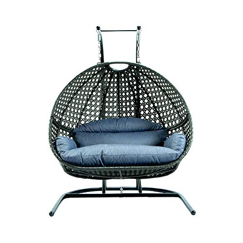 DWSFADA Double Person Patio Hanging Chair, Hanging Egg Chair Swing, Outdoor Lounging Chair,Large Basket Patio Swing with Removable Gray Cushions for Backyard Balcony with Egg Chair Stand