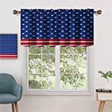 Hiiiman Window Curtain Light Filtering Rod Pocket Valance Stars Stripes with Old Glory Theme Abstract Independence, Set of 2, 42'x24' for Bedroom, Kitchen Or Bathroom Windows