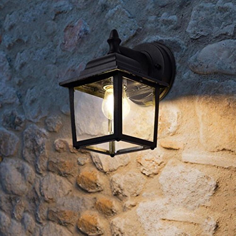 Wandleuchte WYQLZ Retro Outdoor Korridor Wasserdichte Garten Hof Schwarz Aluminium Wai Wand E27, Hochwertige dekorative Beleuchtung