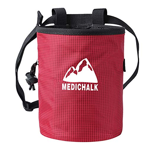 Togear Chalk Bag for Bouldering, Weightlifting, Rock Climbing & Gymnastics and Kids & Climbers with Drawstring Closure, Quick-Clip Belt(Red)