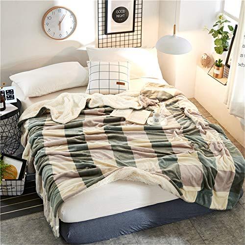 misshxh flanel deken met groen en grijs geruit, comfortabele zachte en ademende lakens, voor thuis textiel voor Office Nap Sofa spreien