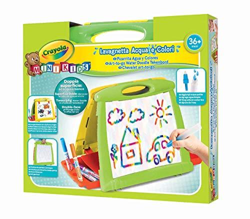 Crayola Mini Kids Lavagnetta Acqua & Colori, Doppia Superficie ad Acqua e Bianca per Pennarelli, da 36 Mesi, Multicolore, 5074-07