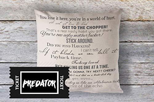 Thomas655 Funda de Almohada Predator con Citas de películas de 18 x 18 Pulgadas, Lavable de Fibra para el hogar, Textiles de Eco tintas maduras