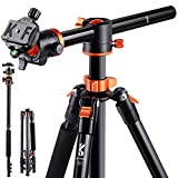 K&F Concept 72 Inch Camera Tripod, S211 Transverse Center Column Aluminium Professional DSLR Tripod with 360 Degree Ball Head,Quick Release Plate,Detachable Monopod 10kg Load for Travel and Work