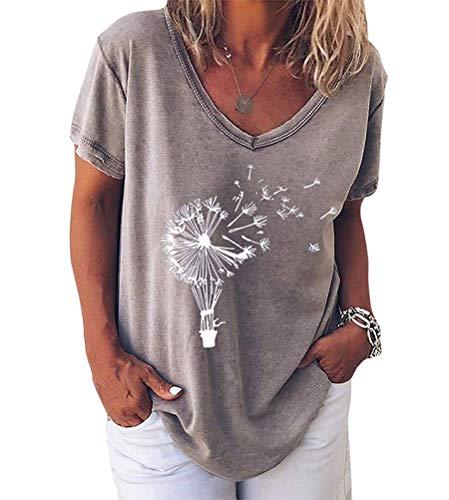 Minetom Pusteblume Bedrucktes T-Shirt Damen Kurzarm Lose Bluse Lässiger V-Ausschnitt Sommer Tops Oberteile E Grau 36