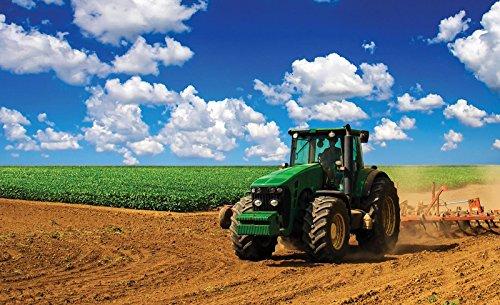 ForWall Fototapete Vlies - Tapete Moderne Wanddeko Grüner Traktor auf dem Feld VEXXL (312cm. x 219cm.) AMF1909VEXXL Wandtapete Design Tapete Wohnzimmer Schlafzimmer