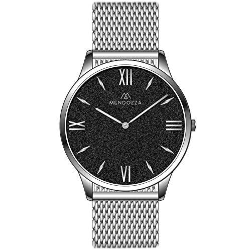 MENDOZZA Herren Armbanduhr Black Sand Edelstahl Mesh-Armband Designer Herren-Uhr Flach Schweizer Uhrwerk Saphirglas Schwarz 39 mm Silber/Silber