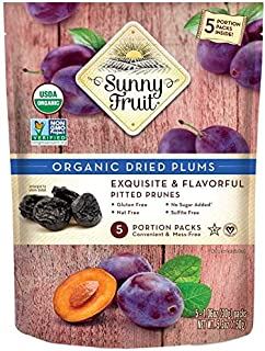 ORGANIC Prunes - Sunny Fruit - (5) 1.06oz Portion Packs per Bag | Purely Dried Plums - NO Added Sugars, Sulfurs or Preserv...
