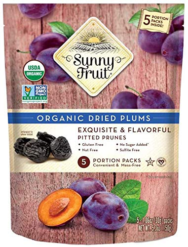 ORGANIC Prunes - Sunny Fruit - (5) 1.06oz Portion Packs per Bag | Purely Dried Plums - NO Added Sugars, Sulfurs or Preservatives | NON-GMO, VEGAN & HALAL