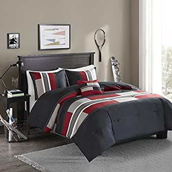 Comfort Spaces All Season Cozy Comforter Set Modern Casual Bedding Set Active Lifestyle Boys Bedroom Décor Pierre Black Red Stripe Queen 4 Piece