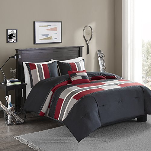 Comfort Spaces Comforter Set All Season Ultra Soft Hypoallergenic Microfiber Pipeline Boys Dormitory Bedding, Queen(90\u0026quot;x90\u0026quot;), Pierre Black Red Stripe