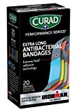 Curad Performance Series Ironman Extra Long Antibacterial Bandage, Extreme Hold Adhesive Technology, Fabric Bandages.75 x 4.75 Inch, 20 Count,CURIM5019