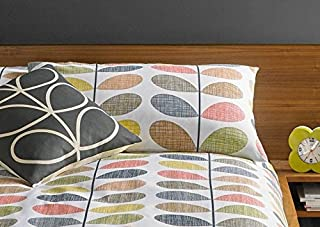 Orla Kiely Scribble STEM Orange Yellow 100% Cotton 200TC Pair of Housewife Pillowcases