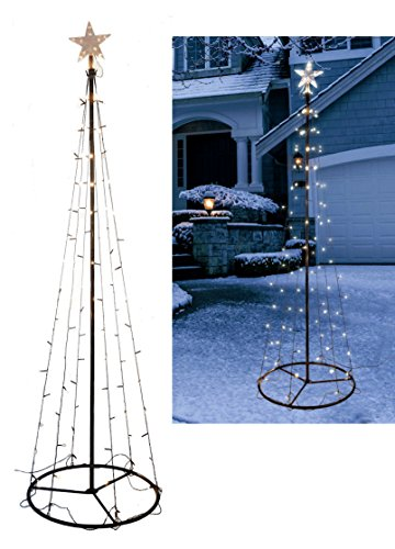 Sapin lumineux à LED en forme de cône–Hauteur / Ampoules Blanc Chaud–Sapin de Noël pour décoration extérieure 240 cm