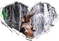 KAIASH 3Dウォールステッカー3Dルックの壁またはドアステッカー壁ステッカー壁ステッカー壁装飾92x64cmの滝のハート形の赤ちゃん象