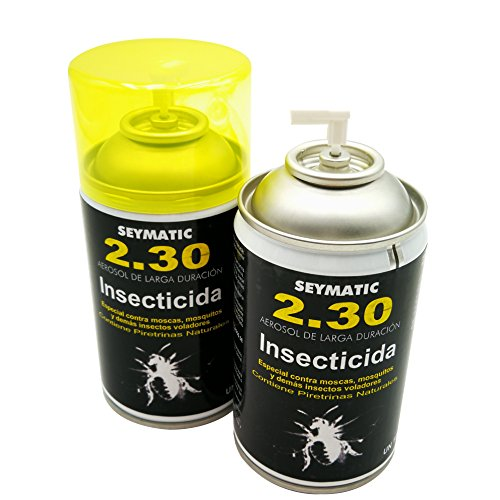 limpiezabarata Insecticida Profesional Seymatic 2.30, con Piretrinas sintéticas y Naturales. Mata fulminantemente Moscas, Mosquitos y Cualquier Insecto Volador. Aroma Neutro. Pack de 6 insecticidas