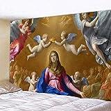KHKJ Mural de la Iglesia Cristiana Ángel decoración del hogar Escena psicodélica Tapiz Hoja Decorativa sofá Manta A3 95x73 cm