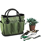 Gfuny Garden Tote, Garden Tote Bag with Pockets (8 Pockets), Garden Tote Large Organizer Bag with Side Pockets & Handles (Tools Not Included - Dark Green)