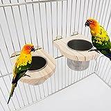 Tazas de alimentación para pájaros para jaula, paquete de 2 tazas de alimentación para pájaros, cuenco de comida de loro, cuenco de agua de acero inoxidable para periquitos, grises africanos, conure