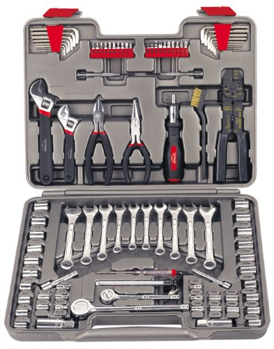 APOLLO TOOLS 95 Piece Mechanics Tool Set with SAE and Metric Socket Sets and Mechanic Tools Needed for Boats, Bikes, Car Maintenance - DT1241,Gray