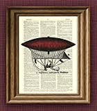 Red Dirigible Aerostat Illustration Beautifully Upcycled Dictionary Page Book Art Print 8.5 x 11